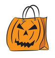 set shopping bags with halloween pattern vector image vector image