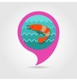 Shrimp pin map icon Prawn Summer Vacation vector image vector image