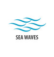 simple brush line sea waves logo concept design vector image vector image