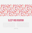 sleep and insomnia concept with thin line icons vector image vector image