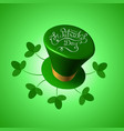 st patricks day 3d hat with feast lettering text vector image