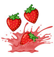 strawberry red splash concept vector image vector image