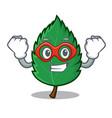 super hero mint leaves character cartoon vector image vector image