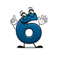 Waving happy number 6 vector image vector image