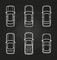 white cars template set - cars top view icons vector image