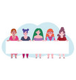 women diverse with banner cartoon character self vector image vector image
