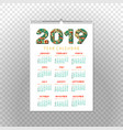 2019 year calendar xmas or happy new year holiday vector image vector image