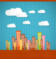 Abstract Retro Paper City with Clouds vector image vector image