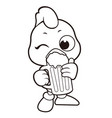 black and white chicken mascot is drinking beer vector image vector image