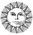 black and white hand drawn sun with face vector image