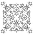 black and white handdrawn mandala with paisley vector image vector image
