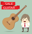 businessman is happy with guitar on sale vector image vector image