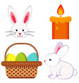 cartoon easter icon set chick candle egg basket vector image