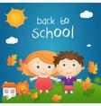 cartoon happy little girl and boy in autumn vector image vector image