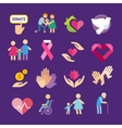 Charity flat icons set vector image