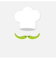 Chef hat and green pea mustache icon Menu card vector image vector image