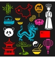China icons set Chinese symbols and objects vector image