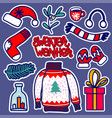 christmas knitted wear stickers vector image vector image