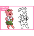 Coloring page Funny pink pig in the Bavarian vector image