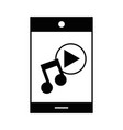 contour smartphone technology with music sound vector image