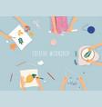 creative handmade workshop banner drawing vector image vector image
