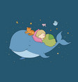cute cartoon boy and whale good night time to vector image vector image