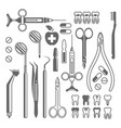 dental tools equipment set black icons vector image
