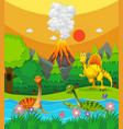 dinosaurs swimming in the river vector image vector image
