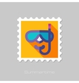 Diving Mask flat stamp with long shadow vector image vector image