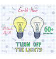 earth hour hand drawn poster vector image vector image