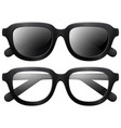 Eyeglasses and sunglasses with black frames vector image