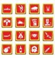 fears phobias icons set red square vector image