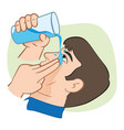 first aid flush eyes with water vector image vector image