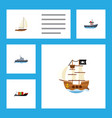 flat icon ship set of yacht tanker transport and vector image vector image