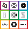 flat parts set of crankshaft belt wheel and vector image vector image