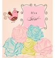 floral bagirl shower roses and cute bird vector image