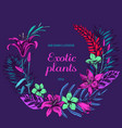 floral wreath of exotic plants hand drawn vector image