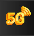 golden 5g connection icon vector image