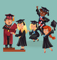 happy boys and girls on graduation party vector image vector image