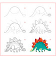 how to draw cute toy stegosaurus educational page vector image