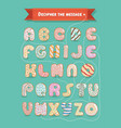 i am sweet on you donuts font and cipher text vector image
