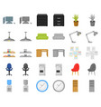 interior of the workplace cartoonmonochrom icons vector image vector image