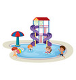 isolated children in water park vector image vector image