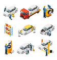 isometric car repair services set vector image vector image