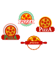 Italian pizza banners and emblems set for cafe vector image