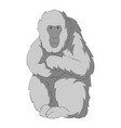 japanese macaque icon monochrome vector image vector image