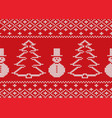 knit christmas design with snowmen and christmas vector image vector image
