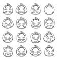 lineart halloween jack o lantern pumpkin scary vector image vector image