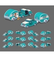 Low poly turquoise retro pickup with trailer house vector image vector image