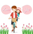 Man And Woman On Bicycle Together vector image